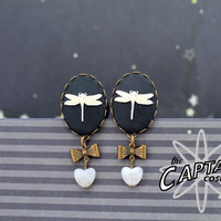 """Dragonfly cameo gauges plugs 16mm 5/8"""" black white insect stretched lobes"""