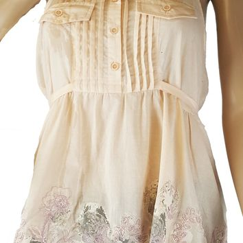 100% Cotton Halter Top Features Button Down Front with Embroidy Flower Design by Annibelle (i-10)