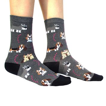 French Bulldog Cesky Yorkshire Terrier Basset Hound Novelty Dog Print Socks for Women in Grey