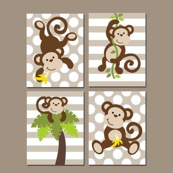 Boy MONKEY Wall Art, CANVAS or Prints, MONKEY Nursery Decor, Bathroom Jungle Animal Theme, Playroom Polka Dot, Set of 4, Boy Bedroom Decor