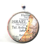 Israel Pendant from Vintage Map in Glass Tile by CarpeDiemHandmade