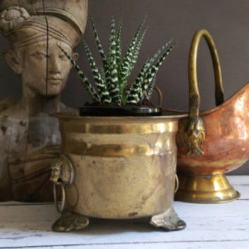 Brass Lion Planter/ Rustic Brass Lion Planter/ Small Brass Planter/Brass Lion/ Lion Planter with feet