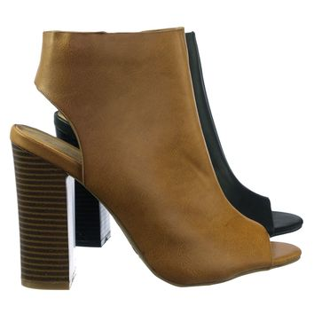 Faith45 Ankle Booties Peep Toe Sling Back Open Heel Block Heel Sandal