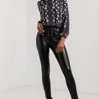 AKIRA Lightweight Long Sleeve High Neck Patterned Top in Navy