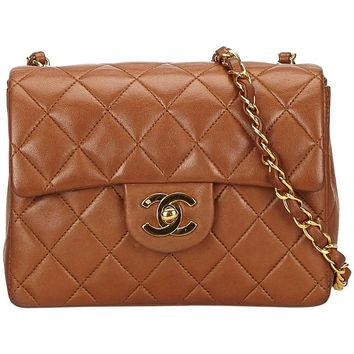 Chanel Brown Mini Matelasse Quilted Lambskin Leather flap shoulder bag