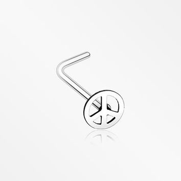 Peace Icon L-Shaped Nose Ring