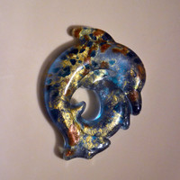 Glass Dolphin Pendant Blue With Gold Flecks