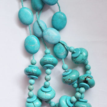 Turquoise short necklace, chunky beads , fun statement jewelry. Check homepage for sale code