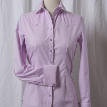 Women's Pink with Tiny Navy Dots Western Shirt