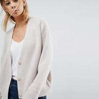 ASOS Chunky Cardigan with Button Front at asos.com