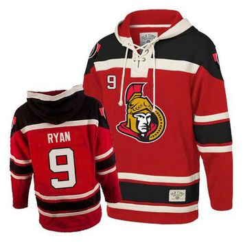 Men's Old Time Hockey Ottawa Senators #9 Bobby Ryan Premier Red Sawyer Hooded Sweatshirt