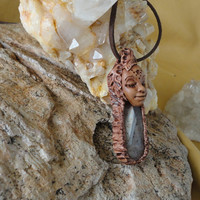 Elvin Forest Nymph Montana Moss Agate Necklace Sam Art Vortex Goddess Pendant
