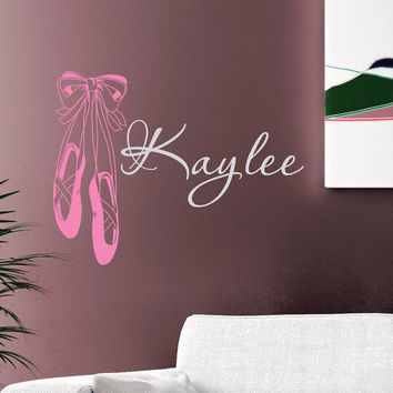 Ballet Slippers Wall Decals Vinyl Sticker Girls Name Personalized Custom Decals Dance Studio Art Home Decor Girls Bedroom Nursery Dorm M021