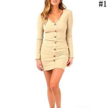 Women O Neck Long Sleeve Knitted Buttons Bodycon Dress Evening Party Midi Dress