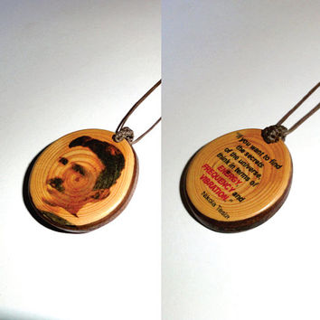 Pendant Necklace Nikola Tesla - Universe Secrets Energy Frequency Vibration - Wooden Slice Disc Pendant Necklace - New Fashion Natural Charm
