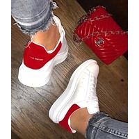 ALEXANDER MCQUEEN Hot Sale Woman Leisure Sport Shoes Sneakers(Velvet Tail) Red