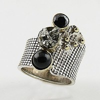 Black Onyx & Pyrite Drusy Sterling Silver Two Tone Ring