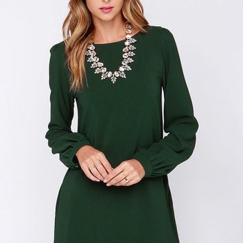 Perfect Situation Dark Green Long Sleeve Shift Dress