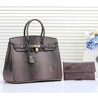 Hermes Women Fashion Leather Tote Shoulder Bag Satchel Set Two Piece