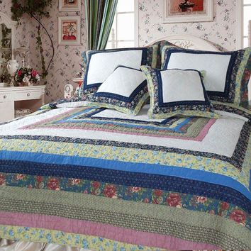 DaDa Bedding Spring Patio 100% Cotton Real Patchwork Quilted Bedspread Set -  3-5 Pieces (DXJ100286)