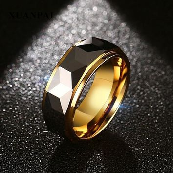 XUANPAI Gold Color Tungsten Ring For Men Jewelry 8MM Black Tungsten Carbide Ring Men's Wedding Band Alianca De Casamento