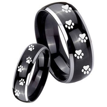 His Hers Gossy Black Dome Paw Print Design 2 Tone Tungsten Wedding Rings Set