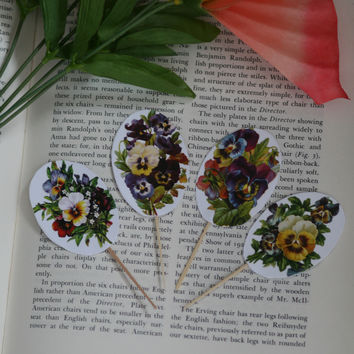 24 Pieces Pansy Flowers Oval Cupcake Toppers Picks for Birthday Decorations DIY Party Supplies