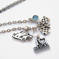 I Love Nascar Necklace, Personalized Birthstone Jewelry, Racing Neckace, Race Car Necklace, Sports Necklace, Choose Length, Race Fan Gift