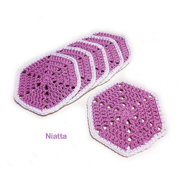 Hexagon Coaster Table Decoration Coaster Crochet Motif Crochet Doily Set Handmade Any Color Niatta