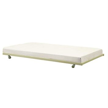 Twin Size White Metal Trundle Bed with Casters Wheels for under Daybeds