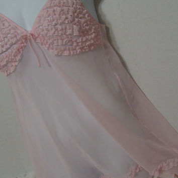 Pink Nightgown Sheer Chiffon Chemise Nightgown Ruffles on Top Fantasies