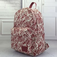 Red Printed Backpack Travel Bag