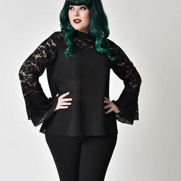 Gothic Style Plus Size Black Lace Bell Sleeve Chiffon Blouse