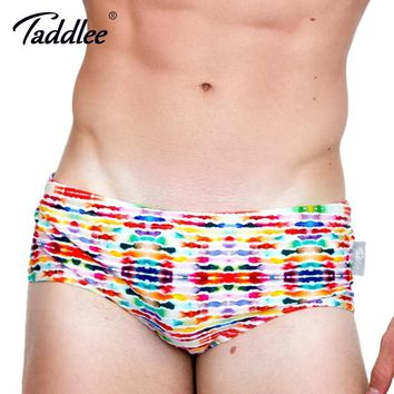 Taddlee Brand 2017 Sexy Men Swimwear Swimsuits Swim Boxer Briefs 3d Printed Men's Board Beach Surfing Shorts Trunks Gay Pouch