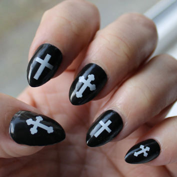 Free Shipping - White Gothic CROSS Nail Art (CRW) - Crosses Waterslide Transfer Decals - Not Stickers or Vinyl