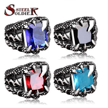 steel soldier stainless steel dragon claw stone ring fashion high quality men punk unique jewelery BR8-178