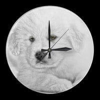 Cute White Puppy Wallclock | Zazzle.co.uk