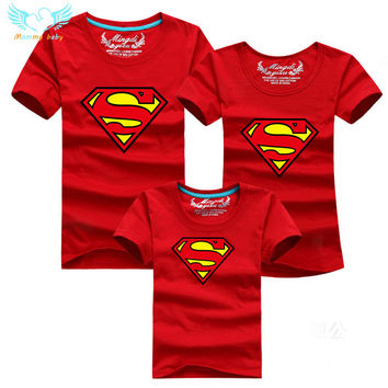 Superman Family T shirts Matching Mother and Daughter Father and Son