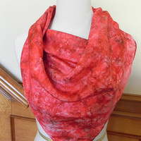 "Square hand dyed silk scarf in shades of warm red, 30"" large square silk scarf #417, ready to ship"