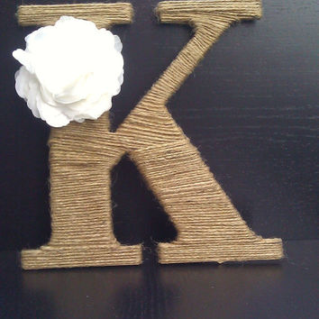 Custom Twine Wrapped Monogram with Flower Accent - personalized letters - monogrammed home decor