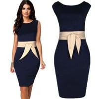 Womens Stylish Tunic Collar Work Office Casual Party Dress