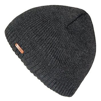 LETHMIK Fleece Lined Beanie Hat Mens Winter Solid Color Warm Knit Ski Skull Cap Dark Grey