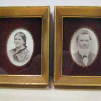 Antique Gold Leaf Wood Picture Frame Pair, Abraham Lincoln and Mrs. Lincoln Photos Small Gold Photo Frame