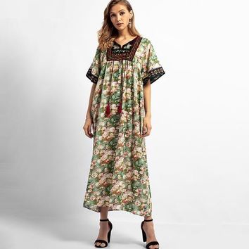 Forest and Floral Tasseled Dress