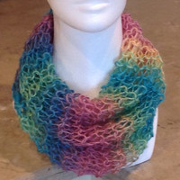Rainbow Pastel Knitted Infinity Eternity Cowl Chunky Easter Spring Scarf