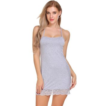 Cotton Nightgown Home Clothes For Women Nightwear Night Dress Female Sleeveless Lace Nighty Sexy Sleepwear Sleepshirt