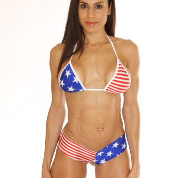 Stars & Stripes Print Booty Short Set pole dancers clothing