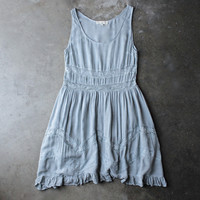 lace trim trapeze slip dress - grey
