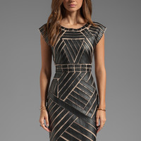 Catherine Malandrino Avalon Dress With Faux Leather Applique in Nude/Noir from REVOLVEclothing.com