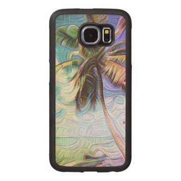 Abstract Rainbow Palm Tree Wood Phone Case